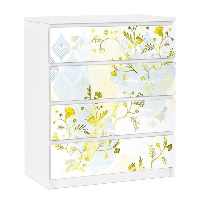 Möbelfolie für IKEA Malm Kommode - selbstklebende Folie Oase Blumenmuster