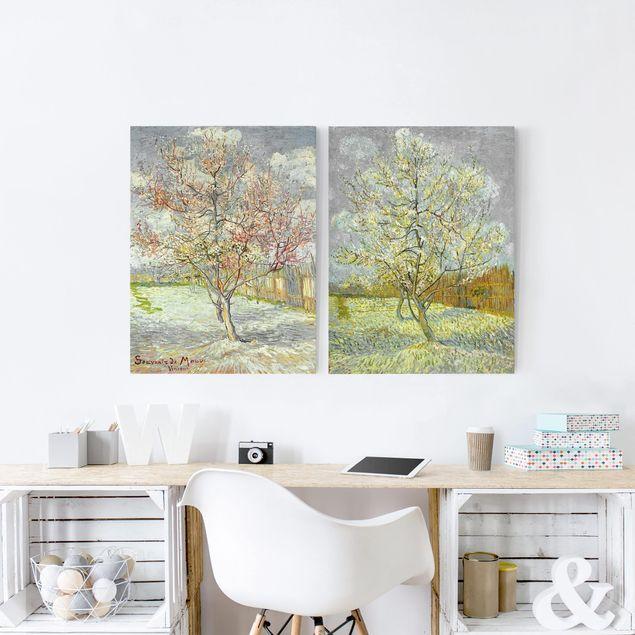 Leinwandbild 2-teilig - Vincent van Gogh - Blühende Pfirsichbäume im Garten - Hoch 3:4