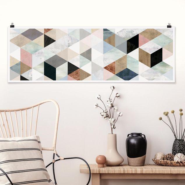 Poster - Aquarell-Mosaik mit Dreiecken I - Panorama Querformat