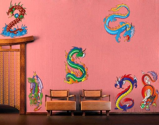 Wandtattoo Kinderzimmer No.330 Dragon Set