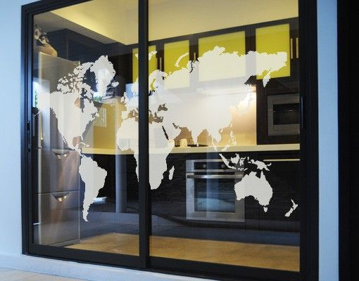 Fensterfolie - Fenstertattoo No.191 Weltkarte - Milchglasfolie