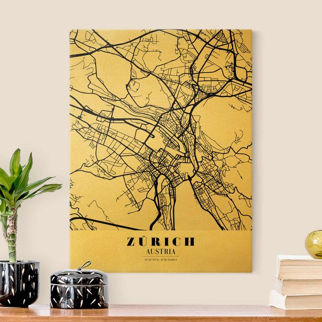 Leinwandbild Gold - Stadtplan Zürich - Klassik - Hochformat 3:4
