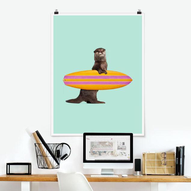 Poster - Jonas Loose - Otter mit Surfbrett - Hochformat 3:4