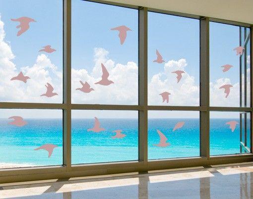 Fensterfolie - Fenstertattoo - Fensterdeko - No.61 Vogelschwarm - Fensterbilder Frühling