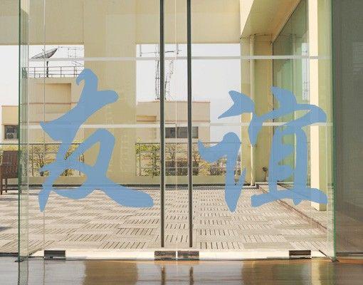 """Fensterfolie - Fenstertattoo No.77 Chinesische Zeichen """"Freundschaft"""" - Milchglasfolie"""