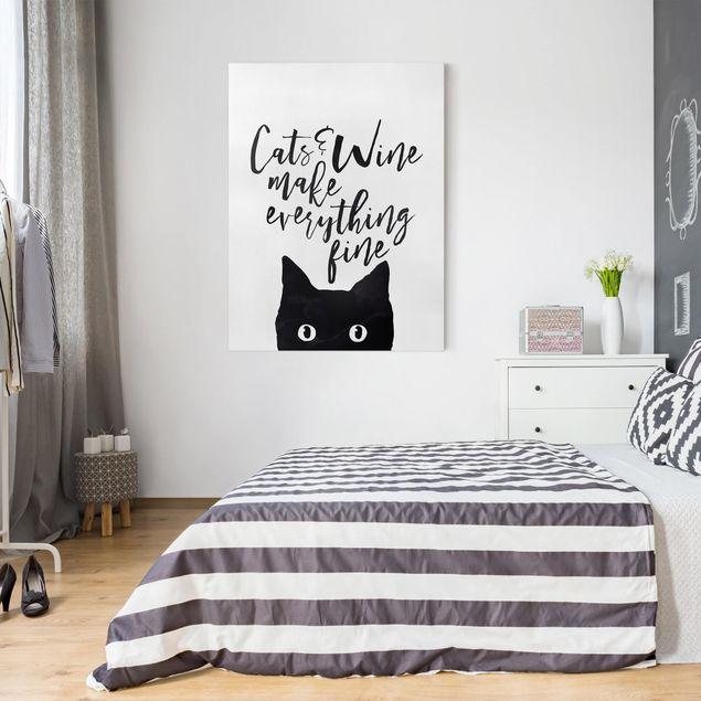 Leinwandbild - Cats and Wine make everything fine - Hochformat 4:3