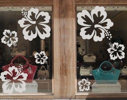 Fensterfolie - Fenstertattoo No.71 Hibiskus - Milchglasfolie