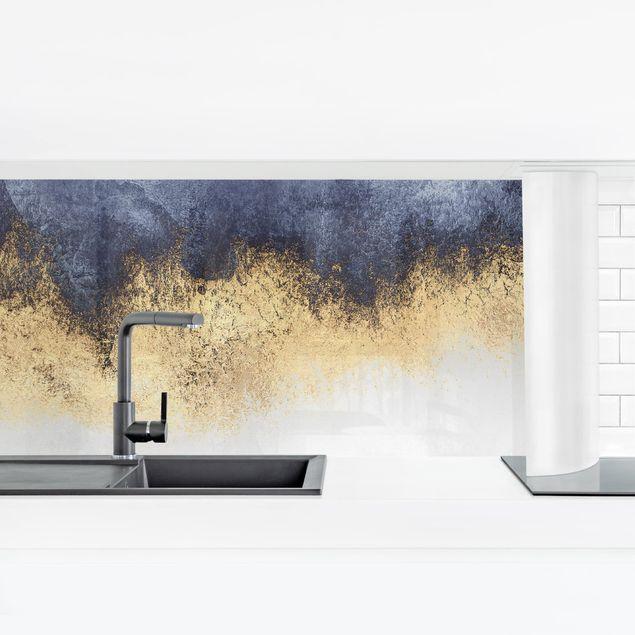 Küchenrückwand - Wolkenhimmel mit Gold