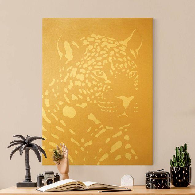 Leinwandbild Gold - Safari Tiere - Portrait Leopard Beige - Hochformat 3:4