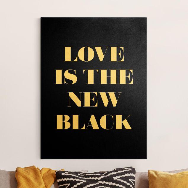 Leinwandbild Gold - Love is the new black - Hochformat 3:4