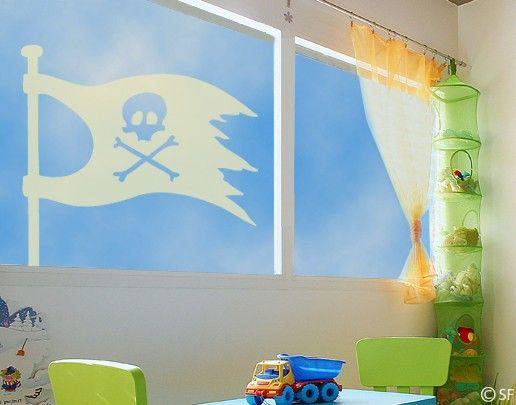 Fensterfolie - Fenstertattoo No.SF966 Piratenflagge - Milchglasfolie
