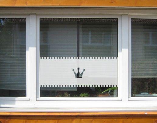 Fensterfolie - Sichtschutzfolie No.UL12 Gardine Krone I - Milchglasfolie