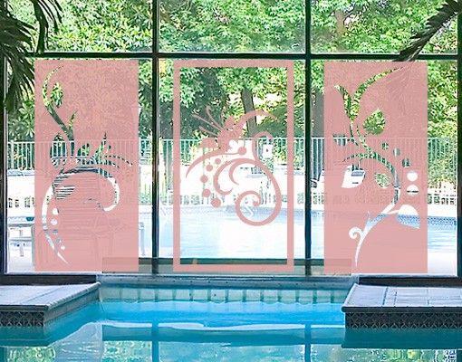 Fensterfolie - Fenstertattoo No.CG102 Floral Triptychon - Milchglasfolie