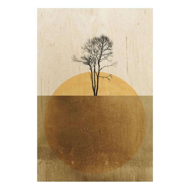 Holzbild - Goldene Sonne mit Baum - Hochformat 3:2
