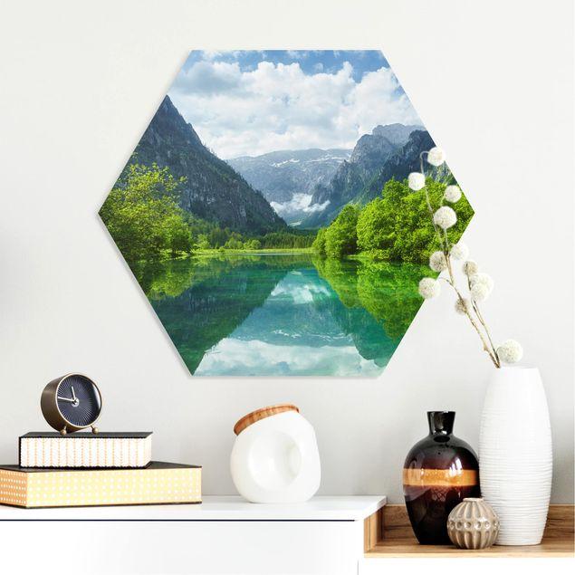 Hexagon Bild Forex - Bergsee mit Spiegelung