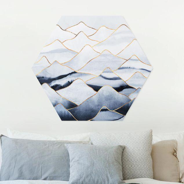 Hexagon Bild Forex - Aquarell Berge Weiß Gold
