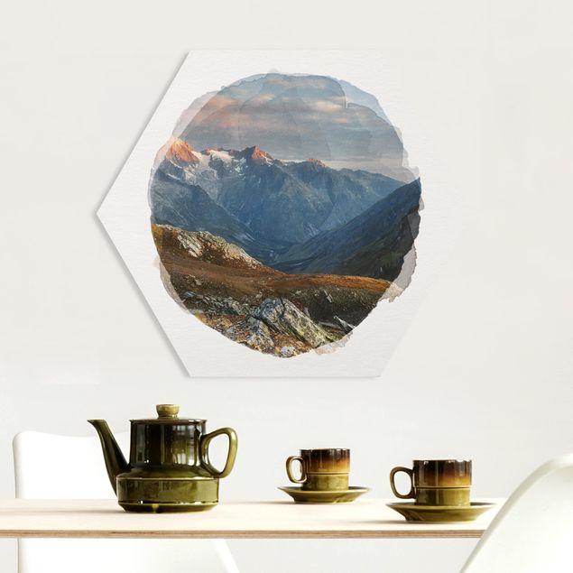 Hexagon Bild Forex - Wasserfarben - Col de Fenêtre Schweiz