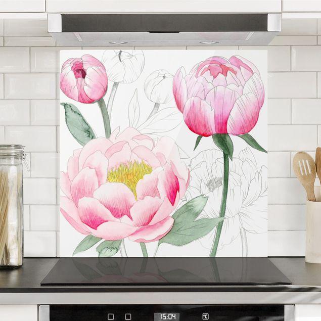 Spritzschutz Glas - Zeichnung Rosa Päonien II - Quadrat 1:1