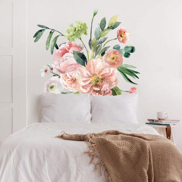 Wandtattoo - Aquarell Rosa Blüten Bouquet XXL