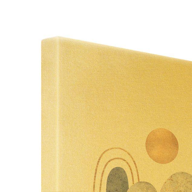 Leinwandbild Gold - Gold Berge mit Mond - Hochformat 2:3