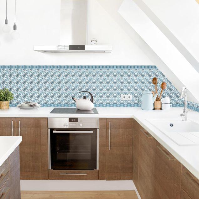 Küchenrückwand - Geometrischer Fliesenmix Kreuz Blaugrau