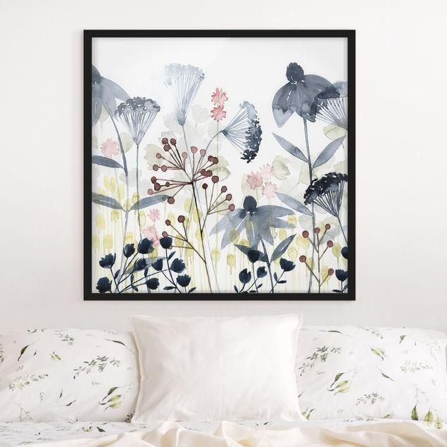 Bild mit Rahmen - Wildblumen Aquarell I - Quadrat 1:1