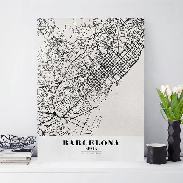 Leinwandbild - Stadtplan Barcelona - Klassik - Hochformat 4:3