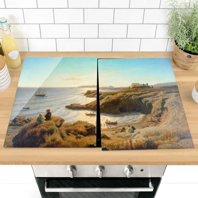 Herdabdeckplatte Glas - Andreas Achenbach - Küste bei Syrakus - 52x80cm
