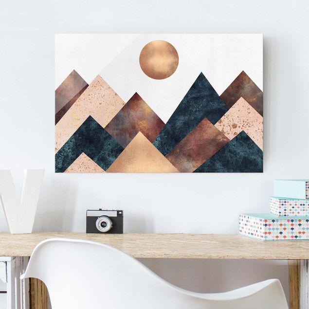 Glasbild - Geometrische Berge Bronze - Querformat 2:3