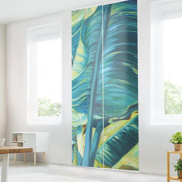 Schiebegardinen Set - Bananenblatt mit Türkis I - Flächenvorhang