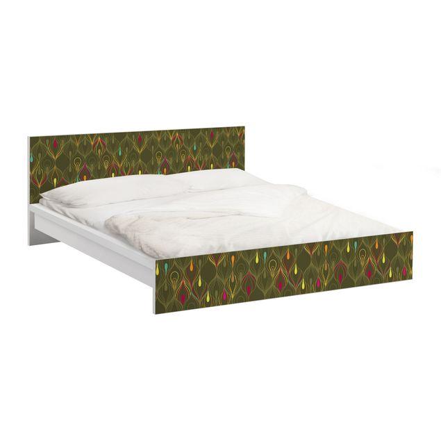 Möbelfolie für IKEA Malm Bett niedrig 160x200cm - Klebefolie Pfauenaugen