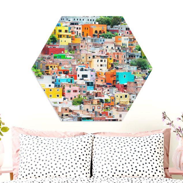 Hexagon Bild Forex - Farbige Häuserfront Guanajuato