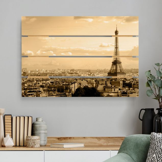 Holzbild - I Love Paris - Querformat 2:3