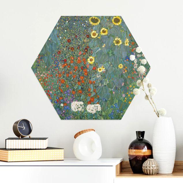 Hexagon Bild Alu-Dibond - Gustav Klimt - Garten Sonnenblumen