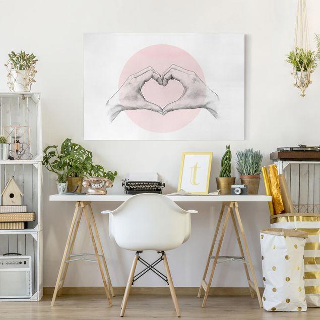 Leinwandbild - Illustration Herz Hände Kreis Rosa Weiß - Querformat 2:3
