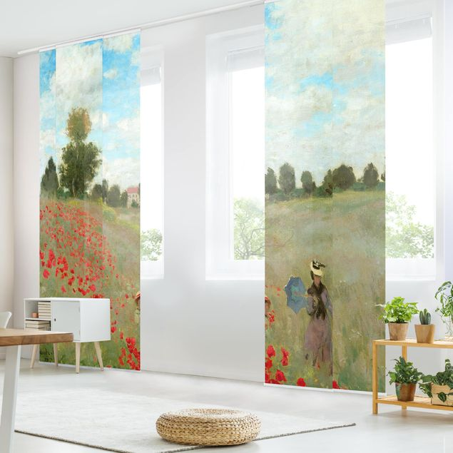Schiebegardinen Set - Claude Monet - Mohnfeld bei Argenteuil - 5 Flächenvorhänge