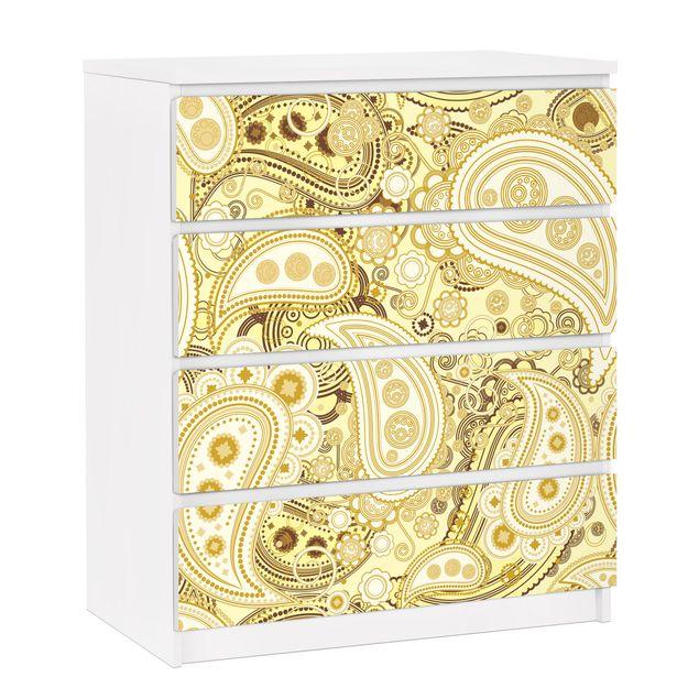 Möbelfolie für IKEA Malm Kommode - selbstklebende Folie Retro Paisley