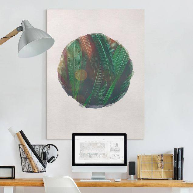 Leinwandbild - Wasserfarben - Grüne Palmenblätter - Hochformat 4:3
