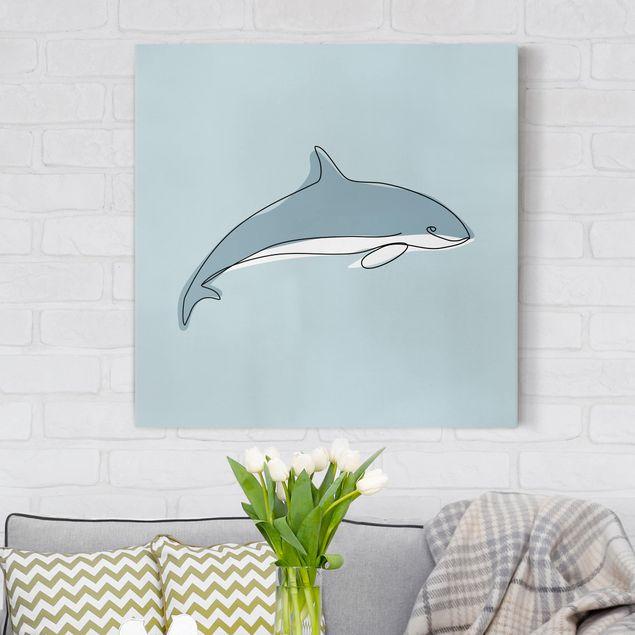 Leinwandbild - Delfin Line Art - Quadrat 1:1