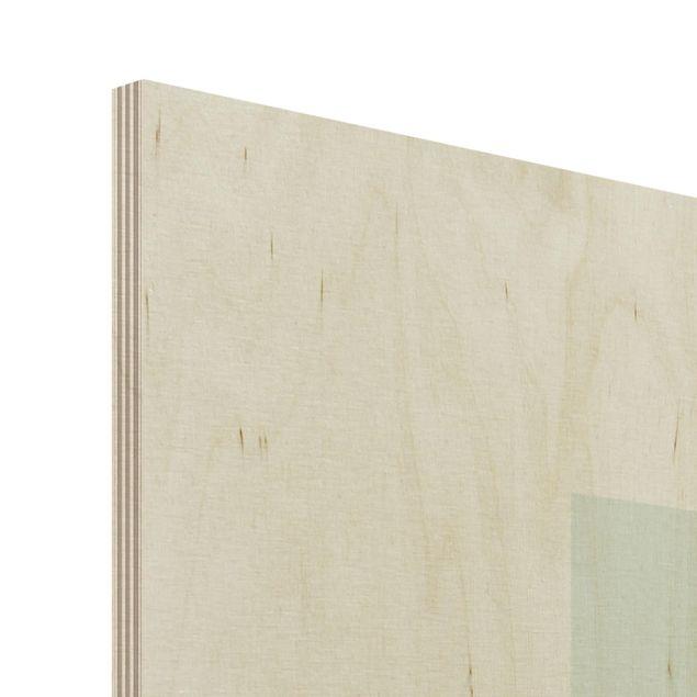 Holzbild - Zweig Geometrie Viereck Line Art - Hochformat 4:3
