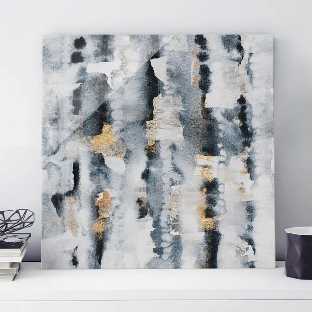 Glasbild - Abstraktes Aquarell mit Gold - Quadrat 1:1