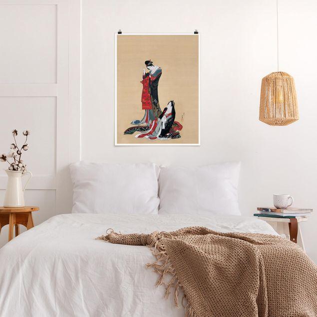 Poster - Katsushika Hokusai - Zwei Kurtisanen - Hochformat 3:4