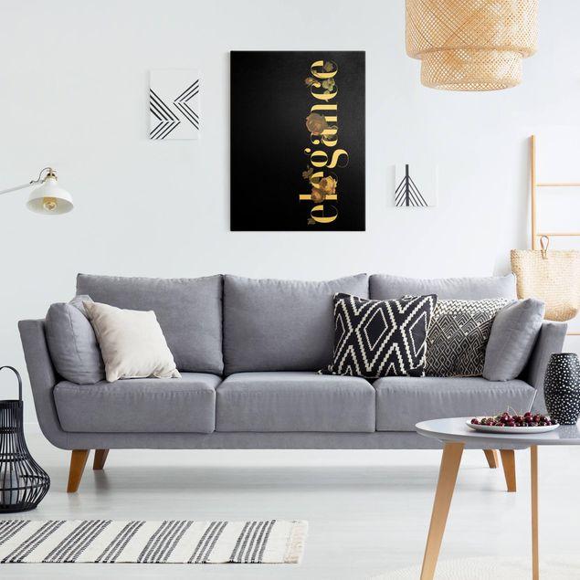 Leinwandbild Gold - Elegance - Blumen Schwarz - Hochformat 3:4