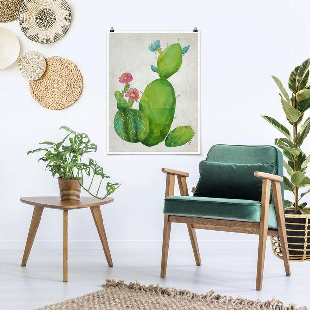 Poster - Kaktusfamilie rosa türkis - Hochformat 3:4