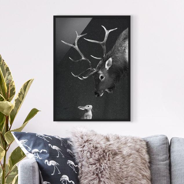 Bild mit Rahmen - Illustration Hirsch und Hase Schwarz Weiß Malerei - Hochformat 4:3