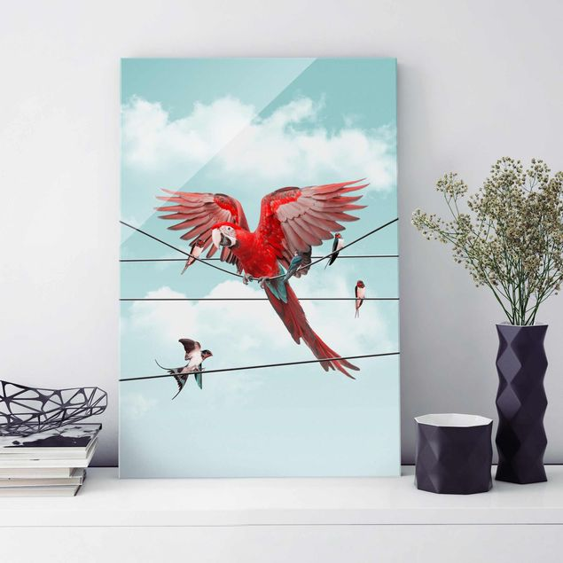 Glasbild - Jonas Loose - Himmel mit Vögeln - Hochformat 3:2