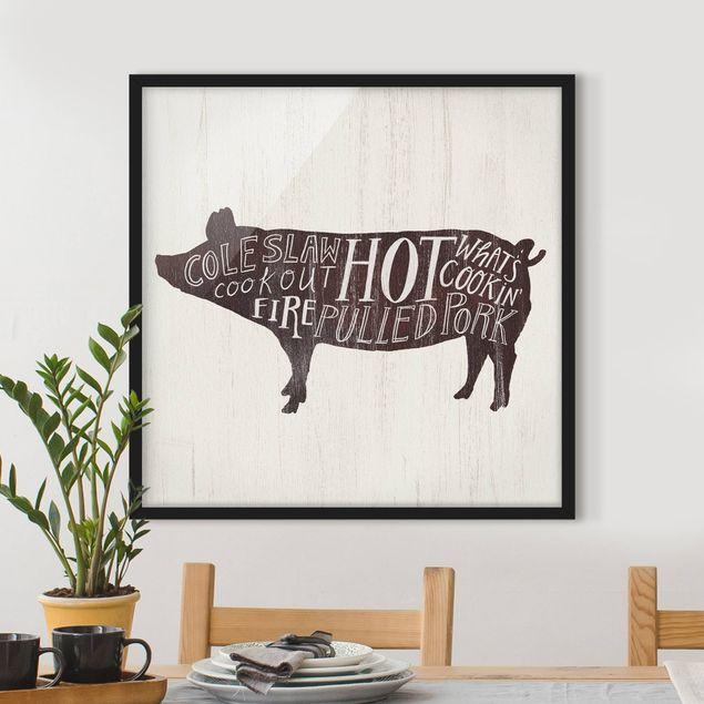 Bild mit Rahmen - Bauernhof BBQ - Schwein - Quadrat 1:1