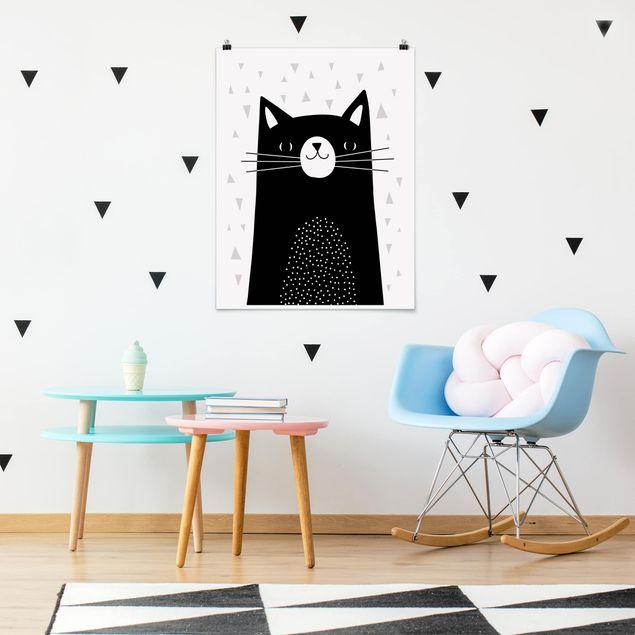 Poster - Tierpark mit Mustern - Katze - Hochformat 3:4