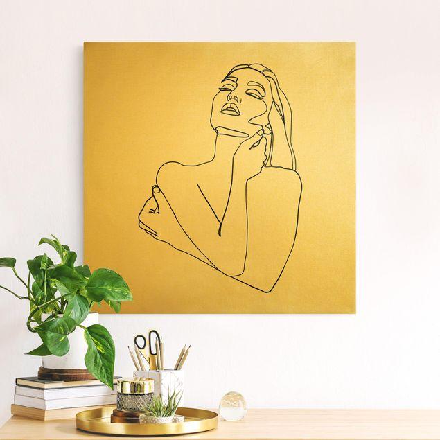 Leinwandbild Gold - Line Art Frau Oberkörper Schwarz Weiß - Quadrat 1:1