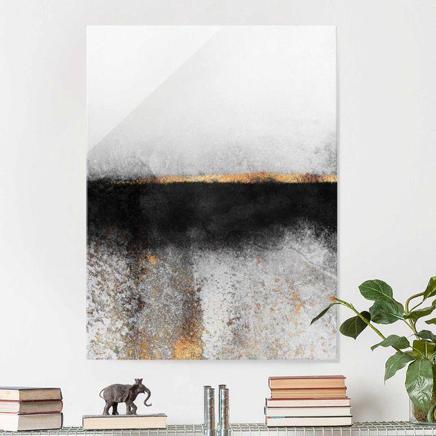 Glasbild - Abstrakter Goldener Horizont Schwarz Weiß - Hochformat 4:3